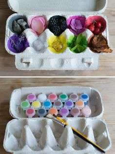 Take inspiration from the colours of nature's palette and make the most of the outdoors while you still can.    Take an egg carton and paint the bottom of each segment with different colours of paint. Challenge your little one to find items in your garden, a park or nature trail near you.