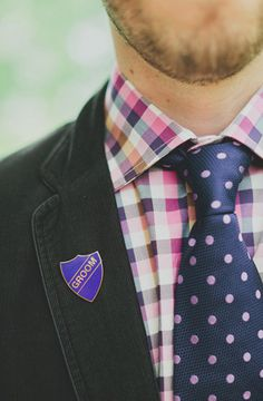 love this preppy pattern mixing for guys...and the groom pin is pretty cool as well.