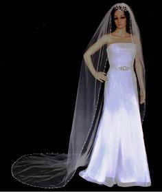 Crystal And Rhinestone Vine Royal Cathedral Wedding Veil
