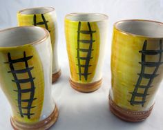 Ceramic Tumbler Pilsner Glass Majolica by ClayLickCreekPottery