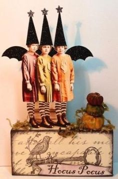 Fairy Witch Halloween Pumpkins Handmade Mixed Media Vtg Altered Art Collage OOAK | eBay by louise