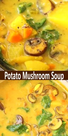 A creamy potato mushroom soup recipe reminiscent of a rich chowder but made with whole food vegan ingredients that are nutritious and good for you. Best Picture For Vegan Recipes christmas For Your Ta Mushroom Soup Recipes, Easy Soup Recipes, Veggie Recipes, Whole Food Recipes, Vegetarian Recipes, Cooking Recipes, Healthy Recipes, Vegan Mushroom Soup, Potato Mushroom Recipe
