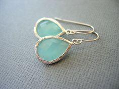Aqua Earrings, Mint Green Earrings, White Gold, Teardrop,