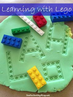 Could also be used in a spelling center.Lego-out the words. Lego learning games - exploring Lego and play dough. This is a great activity for sensory play, imaginative play, letter recognition and sight words. Kindergarten Literacy, Early Literacy, Literacy Centers, Alphabet Activities, Preschool Activities, Learning Letters, Fine Motor Activities For Kids, Small Group Activities, Writing Letters