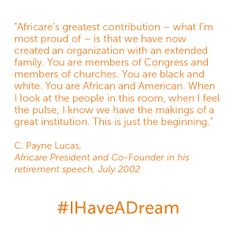 C. Payne Lucas, Africare co-founder, speaks at his retirement in 2002. #IHaveADream