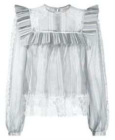 This white and grey Zimmermann silk frill collar blouse is a stunning piece from the design duo's lauded new season collection. Expertly crafted from lustrous silk, this Victoriana-inspired blouse features long sleeves, lace trims at the hem, sleeves and shoulders and an all-over stripe design. Decorated with a frill yoke, layer this elegant sheer piece over a white camisole and black a-line skirt to channel a charming warm weather ensemble.