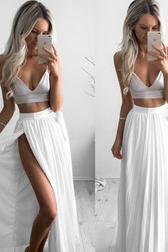chiffon prom dress, two pieces prom dress, simple white chiffon long prom dress with slit
