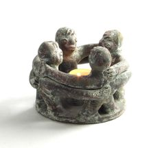 Primitive Circle of Friends Sculpture Candle Holder by DayJahView Circle Of Friends, Clay Figures, Incense Burner, Primitive, Candle Holders, Pottery, Candles, Sculpture, Shop