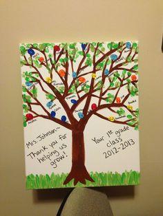 volunteer gift canvas tree fingerprint birds - Google Search