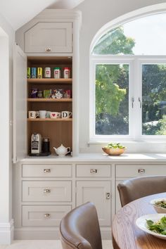p/breakfront-style-pantry-has-counter-top-behind-upper-cabinet-depth-door-area-kitchen-pant - The world's most private search engine Open Plan Kitchen, New Kitchen, Kitchen Dining, Kitchen Decor, Kitchen Ideas, Kitchen Booths, Dining Room, Fancy Kitchens, Bespoke Kitchens