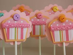 Whimsical little Cupcakes- Set of 12- Decorative Cupcake Toppers, Whimsical Cupcake Party, First Birthday, Boutique Cupcake Decorations