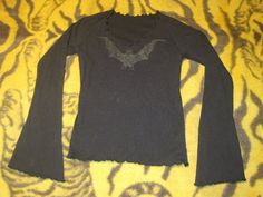 Black Glitter BAT Long wing Sleeve Top Womans Size Small -Goth/Gothic  HALLOWEEN $7.00