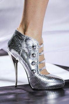 Metallic Silver Heels