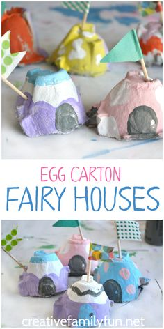 Recycle your egg cartons and turn them into this cute fairy house kids craft.