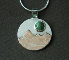 Mixed metal jewelry mountain landscape by EvolveJewelryStudio