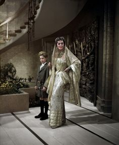 Auntie Mame Rosalind Russell gold embroidered sari-inspired look
