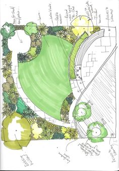 garden drawing A series of overalls and circles, make up the layout in this garden. Making the most of the sunshine throughout the day Urban Garden Design, Simple Garden Designs, Garden Design London, Garden Design Plans, Small Garden Design, Landscape Design Plans, Landscape Services, Landscape Architecture, Leigh On Sea