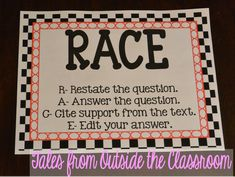 RACE- an acronym for teaching kids to restate the question in their answers. This free poster set has different acronyms to help you teach students to write strong responses to questions. 5th Grade Writing, 6th Grade Ela, Third Grade Reading, Second Grade, Teaching Writing, Teaching Kids, Academic Writing, Constructed Response, Reading Workshop