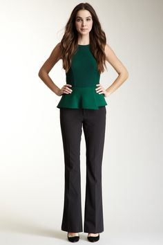 I would add a statement necklace to this ensemble.  I love peplum tops.