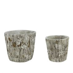 Set of 2 Brown and Gray Tree Bark Inspired Millcreek Cachepot Flower Planters 7.25 #31518266