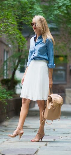chambray polka dot shirt, white pleated chiffon skirt + studded tan @SoleSociety backpack