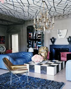 Habitually Chic®: Hillcrest Hideaway...  Kelly Wearstler leaves NO Space undecorated...not even her Ceilings!