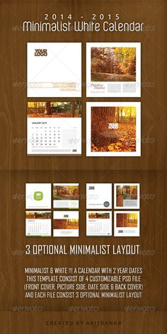 2014  2015 Desk Calendar with Minimalist White Features:a. Size: 8,5 Inch X 8,5 Inch CMYK with Printers marks, Adobe Photoshop 3