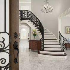 Luxury Staircase, Foyer Staircase, Staircase Remodel, Curved Staircase, Entry Stairs, Staircases, Wrought Iron Staircase, Stair Railing, Railings