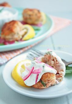 Salmon Meatballs with dill and caper tartar sauce and red onion ceviche (low carb and gluten free) - ibreatheimhungry.com