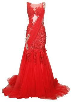 Red floral swaroskvi embellished lace cocktail gown available only at Pernia's Pop Up Shop.
