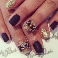 Matte black & sparkling #candypaintLA #nailart #naildesign #gelnails