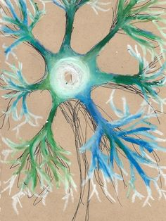Motor neurone - oil pastels(365 day art project)