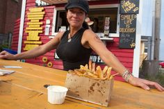 The Fry Queen working hard on fry domination in Charlottesville, Prince Edward Island, Canada