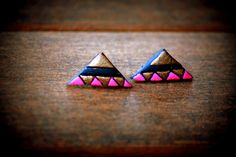 cute mini polymer clay/terracotta triangle shaped stud, daily wear stud, elegant studs, triangle studs, fashion studs, statement earrings by Mithicotta on Etsy