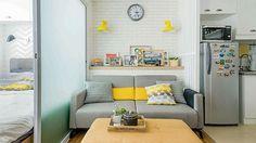A Compact Euro-hip Condo Home Condo Interior Design, Condo Design, Studio Interior, Apartment Interior, Apartment Design, Apartment Ideas, Micro Apartment, Interior Decorating, House Design