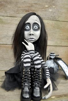 Gothic Art Doll. Creepy possessed Girl  Elza. 30''.