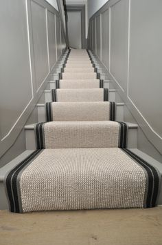wool stair runners Bowloom wool carpet, fitted stair runners with Stripe P - Colour 2 binding tape Carpet Staircase, Staircase Runner, Hallway Carpet, Basement Carpet, Stair Runners, House Staircase, Staircase Remodel, Hallway Designs, Foyer Design