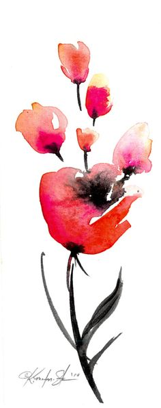Floral 13  Original Contemporary Abstract by KathyMortonStanion, $10.00