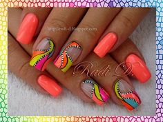 Opting for bright colours or intricate nail art isn't a must anymore. This year, nude nail designs are becoming a trend. Here are some nude nail designs. Neon Nail Art, Neon Nails, Acrylic Nail Art, My Nails, Orange Nail Art, Blue Nail, Fancy Nails, Trendy Nails, Cute Nails