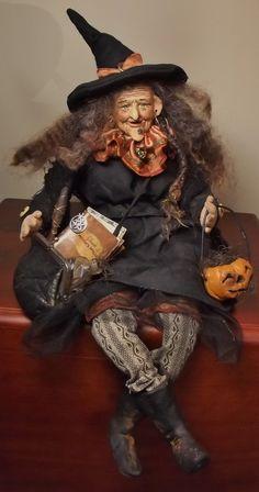 Handmade Sitting Witch By Kim Sweet~Kim's Klaus~Vintage Antique Halloween OoAk Art DoLL