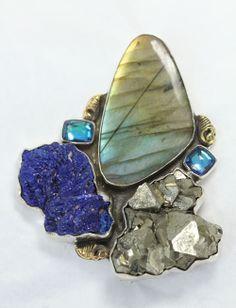 Amy Kahn Russell Summer Trunk Show      Pin/Pendant     Labradorite, chalcopyrite, azurite, quartz, brass, sterling silver