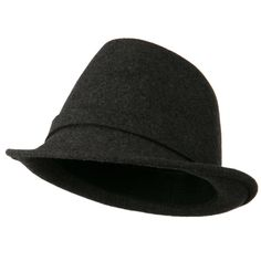 Women's Jewel Button Fedora Hat - Dark Grey