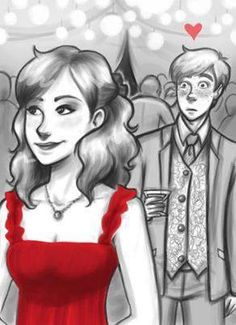 Adorable fan art ❤️ Ron and Hermione and Bill and Fleur's wedding
