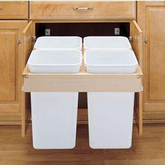 Rev-A-Shelf Pull-Out Top Mount Waste & Recycling Bins - 4 x 27 Quart (4 x 6.75 Gallon)   KitchenSource.com