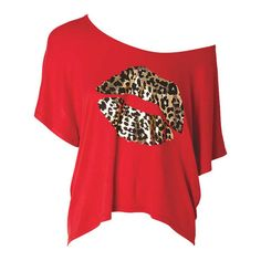 Leopard Foil Lips ($20) ❤ liked on Polyvore featuring tops, t-shirts, shirts, blusas, foil t shirts, lips shirt, red leopard shirt, leopard print top and lip print shirt
