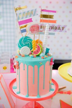 Cute Candy Topped Drip Cake From A Pastel Neon Teen Birthday Party On Karas