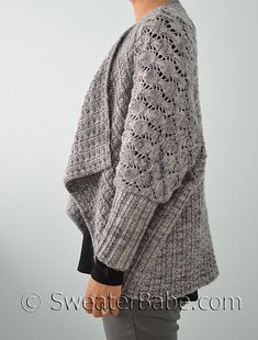 #205 Two-Way Wrap Cardigan. Luxe, multi-textured, open-front cardigan that can be worn upside-down as well! SweaterBabe.com Knitting Patterns