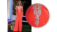 LA FEMME Pink grapefruit mesh gown, halter top bodice enhanced w/aurora rhinestones on re-embroidered lace, horizontally pleated bodice, skirt w/CF slit, flared hemline w/train