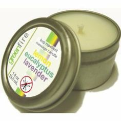 All natural candle that works both as a bug repellent candle AND massage oil as it melts! Two products in one. Lemon eucalyptus lavender scent. Uses natural, recycled products and burns clean.