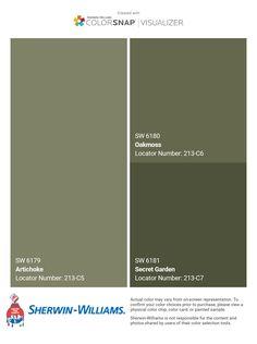 Green Exterior Paints, Exterior Paint Colors For House, Paint Colors For Home, Exterior Colors, Green Paint Colors, Wall Colors, Olive Green Paints, Visualizer App, House Painting